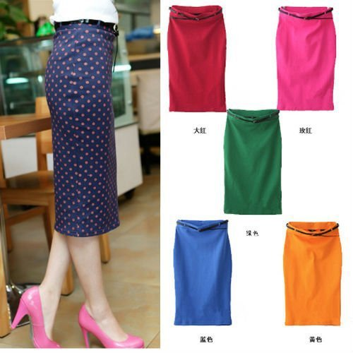 CANDY COLOR STRETCH SLIM FIT SKIRT WITH BELT  Free shipping  W1295
