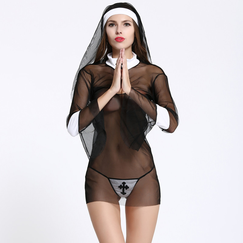 Sexy costumes women cosplay nuns Uniform sexy lingerie transparent Halloween cosplay costume sexy underwear set sex product slip