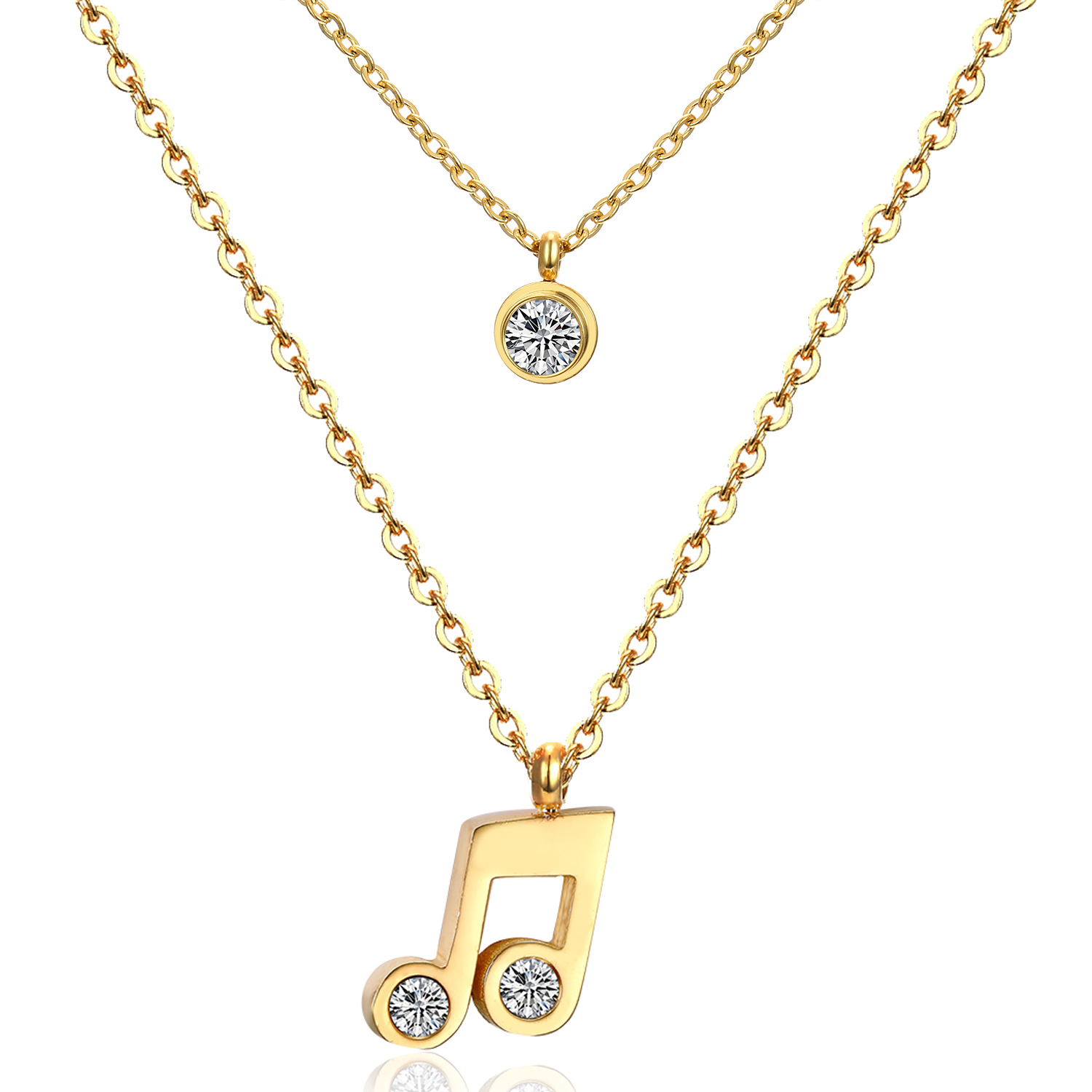 Hot Sale New Crystal Rhinestone Double Music Symbol Pendant Necklace Fashion Metal Chain Double Necklaces Sweater Chain Jewelry(China (Mainland))