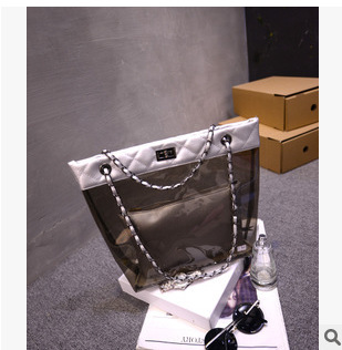 Factory direct 2015 spring and summer in Europe and America Quilted shoulder bag transparent twist locks Picture handbags wholes(China (Mainland))