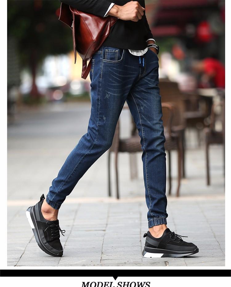 Скидки на Байкер джинсы 2016 Новый Дизайнер Тонкий Джинсы Мужчин Высокого Качества хип-хоп Разорвал Джинсы брюки Прямые Отверстие Джинсы 962 #42