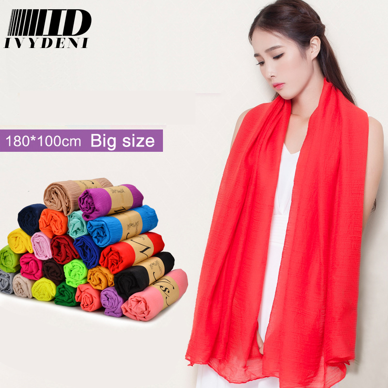 180*110 Fashion Fall Winter 2015 Women Solid Scarf Cotton Scarves And Stoles Wild Oversized Foulard Occident Echarpe Feminino(China (Mainland))