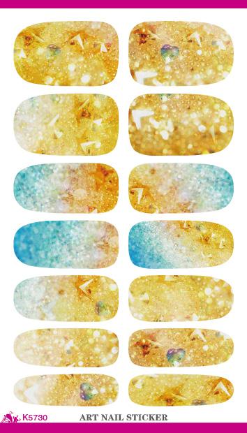 K5730 Gold Flash Bling Bling Nail Diy Art Tips Decoration Sticker Nails Wraps Styling Glitter Rhinestones Water Transfer Sticker(China (Mainland))