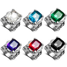 R168 Fashion Trendy European Popular Style Many Different Color Sparkling  Suare Crystal Ring Men(China (Mainland))