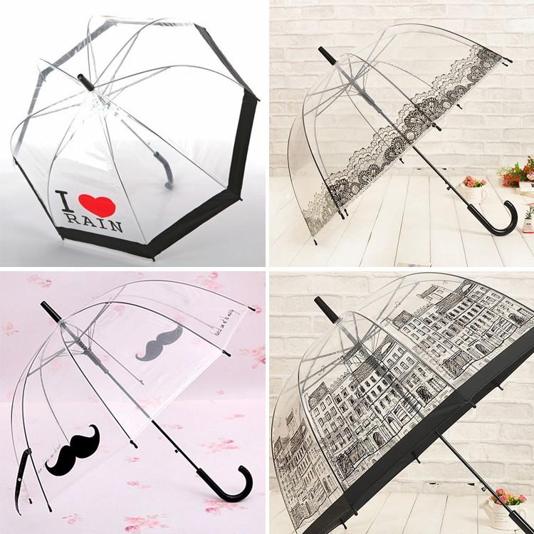 Hot Sale Long Handle Transparent Umbrella Creative Semi-automatic Sunny and Rainy Umbrella Women Girls Outdoor Tools(China (Mainland))