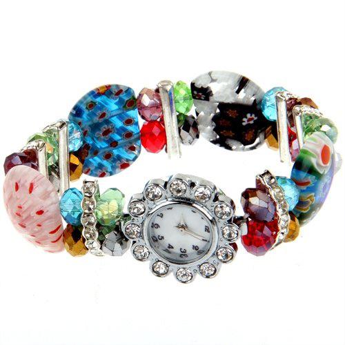 YCYS jewelry watch women fashion bracelet girls Crystal Rhinestone Lampwork Bracelet Bangle Flower Watches