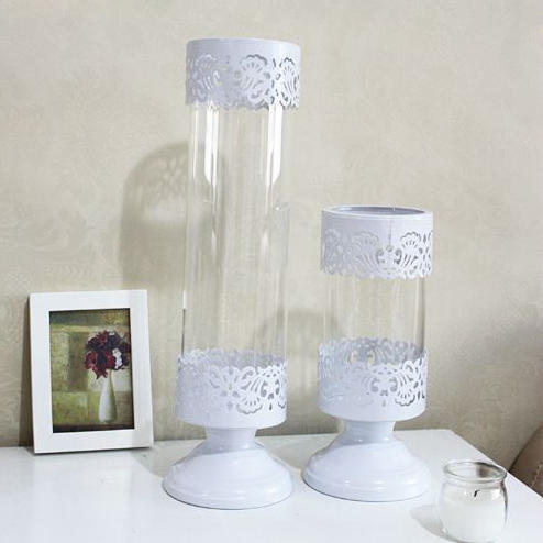 Wholesale free shipping white iron tall glass candle for Cheap tall candlestick holders