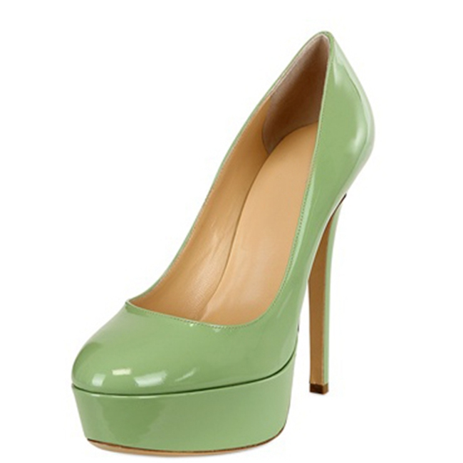 New Basic Women Pumps Patent Leather Round Toe Platform Size 4 CM Thin High Heels Shallow Summer For Party Ladies Shoes