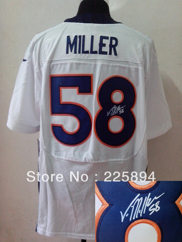 New Men's American Signature Football Jerseys #58 Von Miller White Signed Elite Jersey Size M-XXXL All Stitched(Sewn on)(China (Mainland))