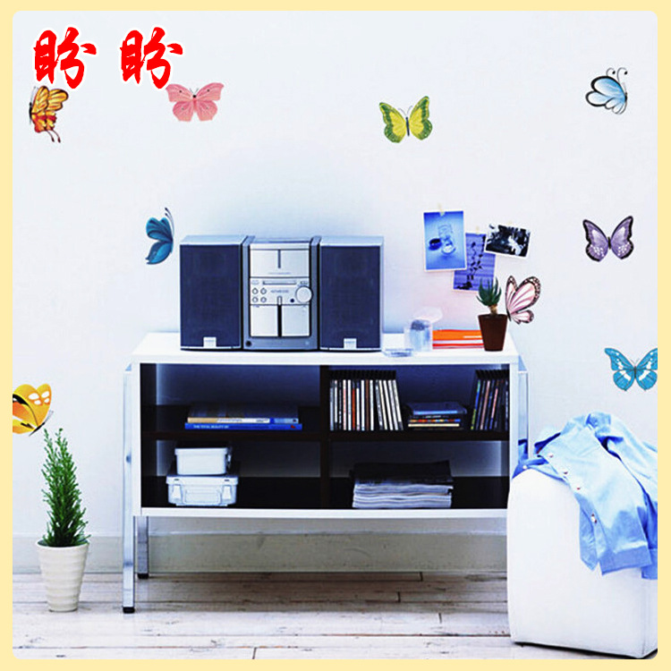 weet butterfly wall stickers special colorful glass paste bedroom romantic wedding room bathroom decoration - Lovely Home-Lise store