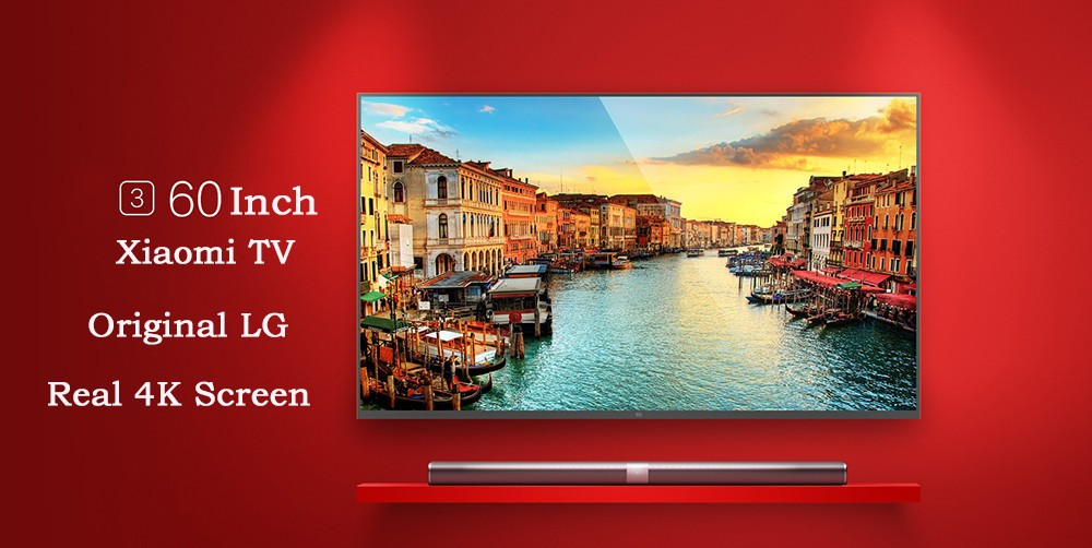 Original Xiaomi TV 3 60 Inches Smart TV English Interface Real 4K Screen 3840*2160 Mstar 6A928 Quad Core 1.4GHz Household TV