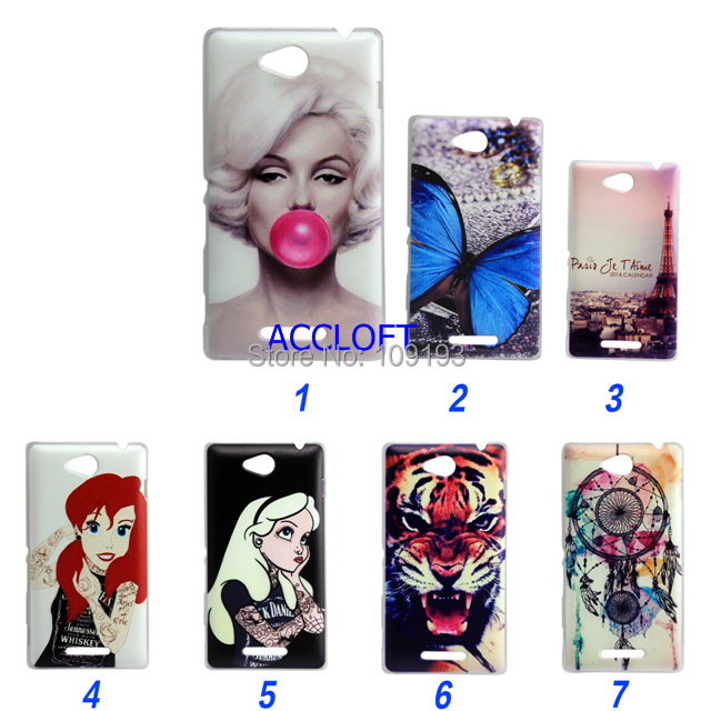 7 styles new Painted princess tiger case Sony Xperia C S39h cover hard C2305 phone bags - accloft .COM's store