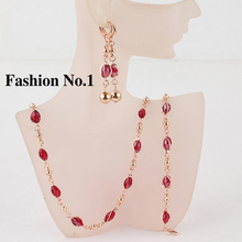 Hot Sale African Jewelry set 18K Gold Plated Crystal Red Ruby Wedding Jewellery Bead Necklace+Drop Earring Bridal Jewlery Set(China (Mainland))
