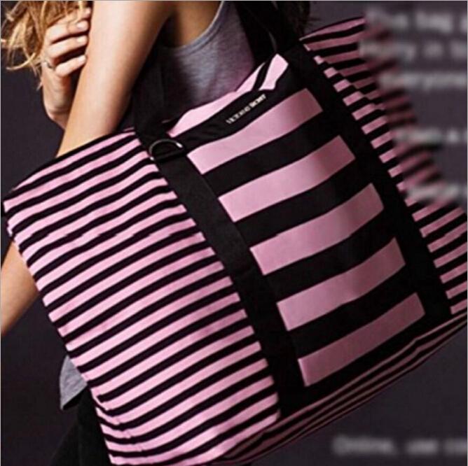 Fashion Women VS stripe canvas beach Shoulder bags leisure Travel gym messenger bag big Totes pink/black(China (Mainland))