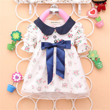 2015 Spring Long Sleeve New Fashion Baby Girls Cotton Dress Big Bow Infants Nice Floral Dresses(China (Mainland))