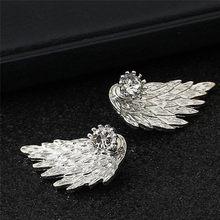 Mling damska anioł Wings stadniny kolczyki kryształ złoty/srebrny ucha biżuteria Party kolczyk Gothic z piór Brincos moda dopasowanie/kolczyki punktowe(China)