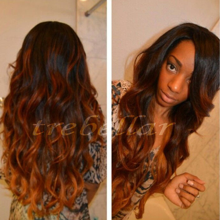 Ombre Human Hair Lace Wig Ombre Brazilian Virgin Full Lace Front Wigs Human Hair Ombre Wavy Lace Front Human Hair Wig With Bangs(China (Mainland))