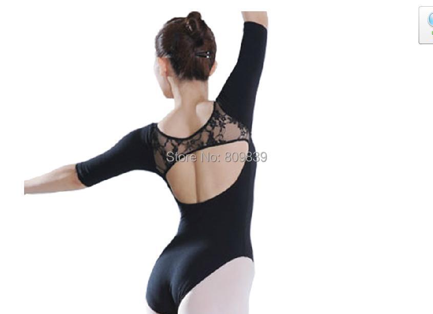 Sleeve Ballet leotard women spaghetti strap dance jumpsuit tights black Lace + Cotton - Beautiful dancers supplies shop store