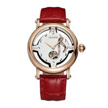Luxury Watch Women Men SKONE Gold Hollow Clock Women Dress Watch Mechanical Automatic Self Wind Movement Ladies Watch Relojes
