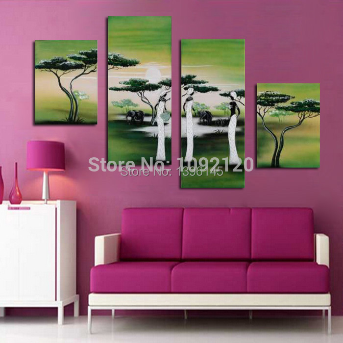 Abstract oil painting grassland life the indian woman relaxing picture wall decor 4 piece set Home decor paintings for sale india