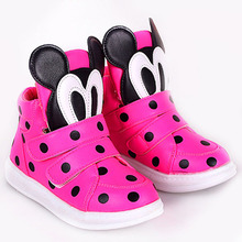 2015 Polk Dots Cartoon Toddler Girls Fashion Sneakers Velcro Kids Girls Casual Shoes Baby Casual Walker Shoes(China (Mainland))