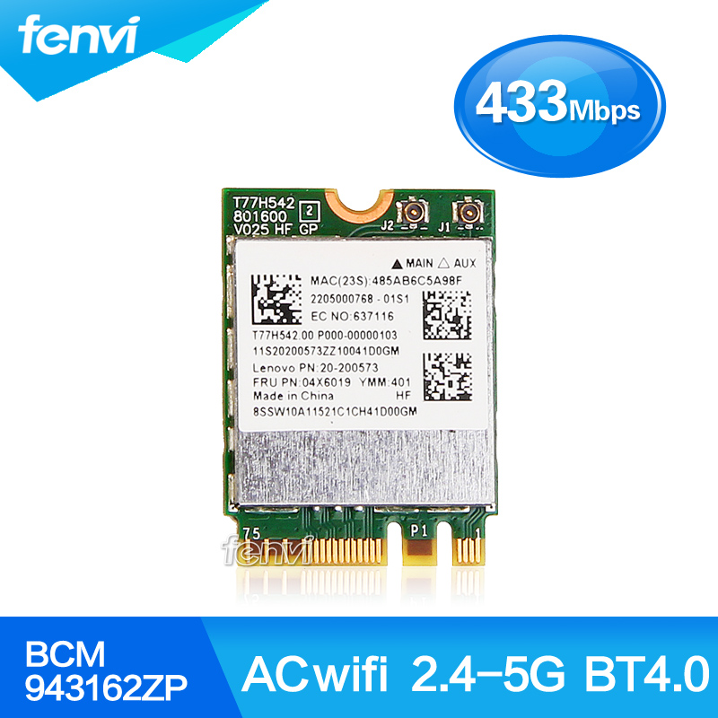 Broadcom BCM943162ZP Dual Band Wireless-AC 2.4G/5G Wifi Bluetooth 4.0 NGFF 802.11ac Card for IBM/Lenovo/ThinkPad FRU:04X6019(China (Mainland))
