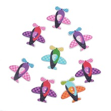 30PCs Multicolor Tartan Design Airplane Helicopter Shape 2 Holes Wood Buttons Fit Sewing DIY 3×3.1cm