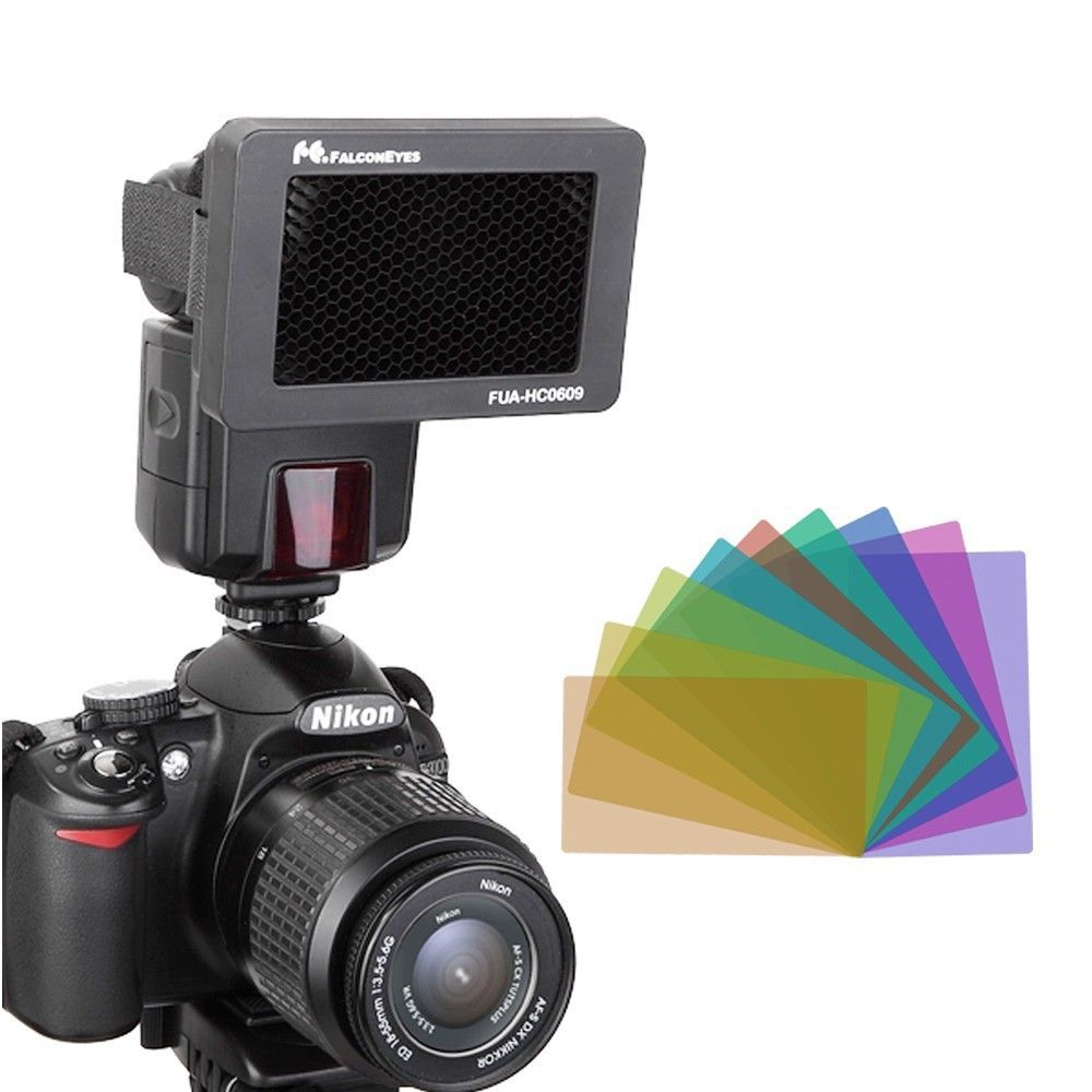 FALCON EYES Honeycomb Grip with 10 color flash gels set for Canon Nikon YONGNUO Metz Nissin Flash Gun Speedlites