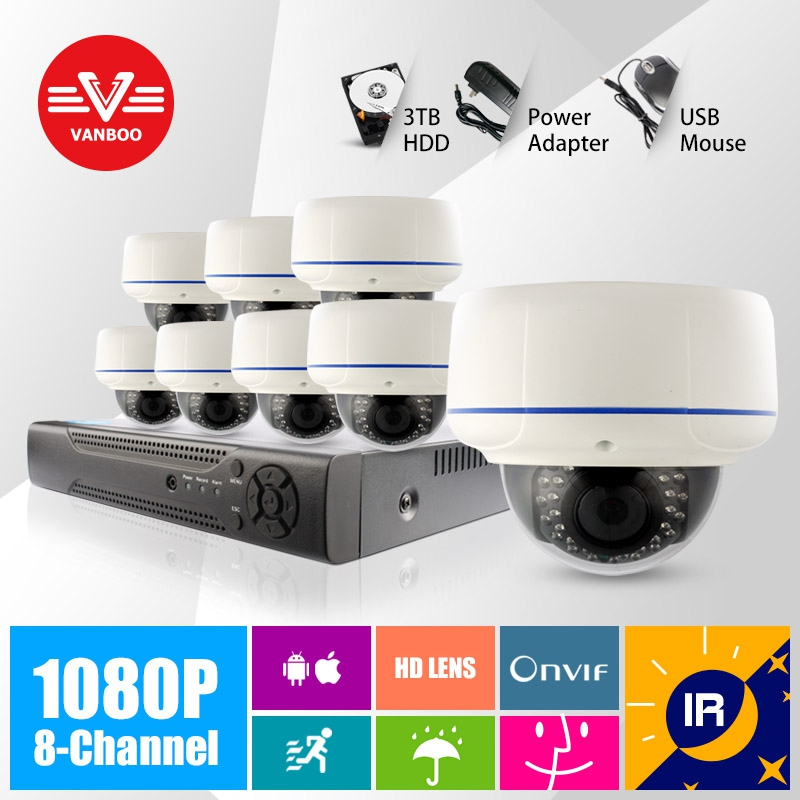 8CH CCTV System 1080P NVR 8PCS IR Weatherproof Outdoor Video Surveillance Home Security Camera System 8CH NVR Kit(China (Mainland))