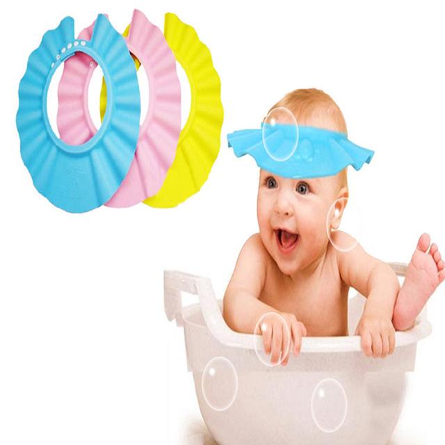 Регулируемая ребенка шляпу малыша дети шампунь ванна купание шапочка для душа мыть ...
