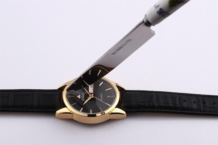 FOTINA Top Brand Мужчины Часы Золото Натуральная Кожа Мужчина Случайно День Дата Часы Кварцевые Наручные Часы Бизнес Relogio Masculino