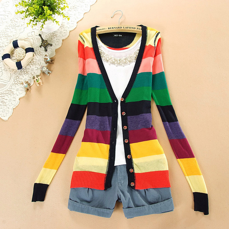 2015 Womens Long Sleeve Colorful Stripes Rainbow V-neck Button Autumn Tops Knitting Knitwear Sweater Cardigans Outerwear Q463 - eeeShopping store