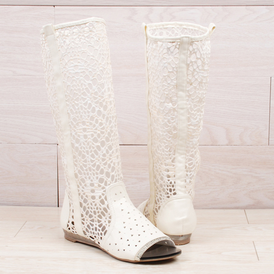 ! New Arrival! Cutout summer boots cool women's net single high-leg open toe flat heel - Michelle's Fashion Store store