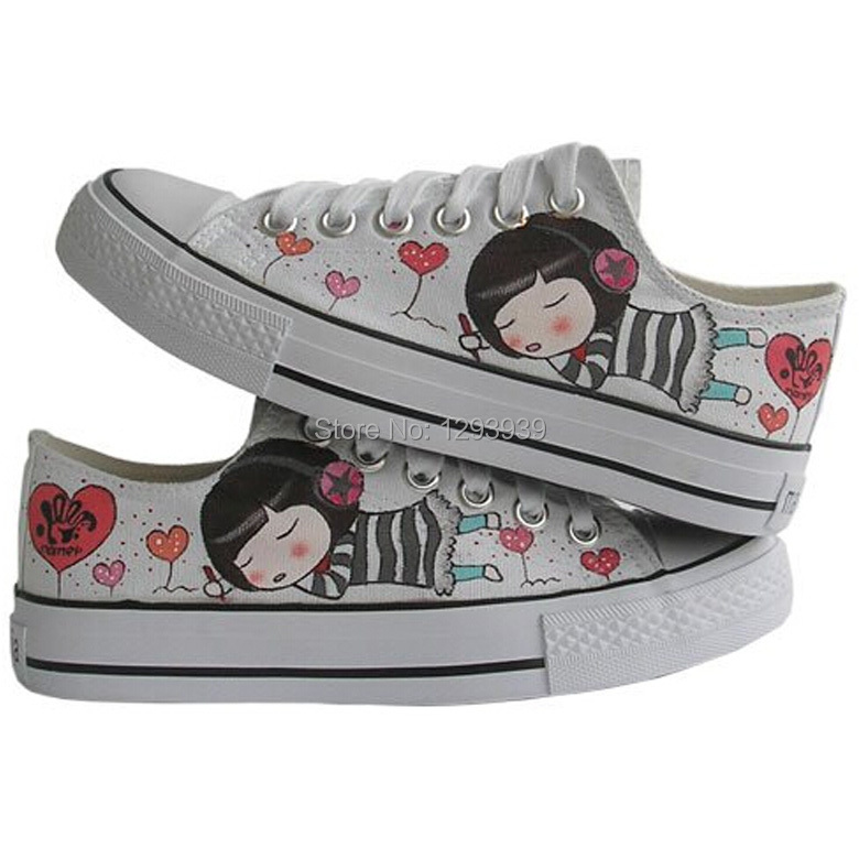 Cute Japanese-style Love Angel Girl Style Canvas Shoes Women Low Lace-Up Hand Painted Fashion Four Seasons Breathable Sneakers(China (Mainland))
