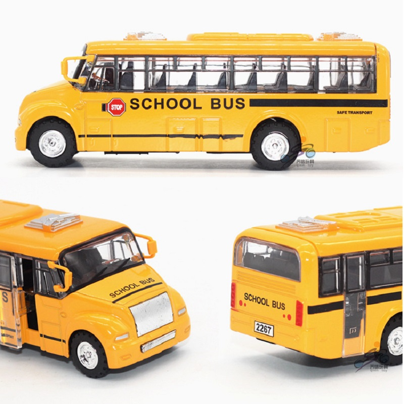 1:32 Scale Alloy Pull Back School bus model Open Door Acousto optic Diecast Bus Toys Car For Children's gift(China (Mainland))