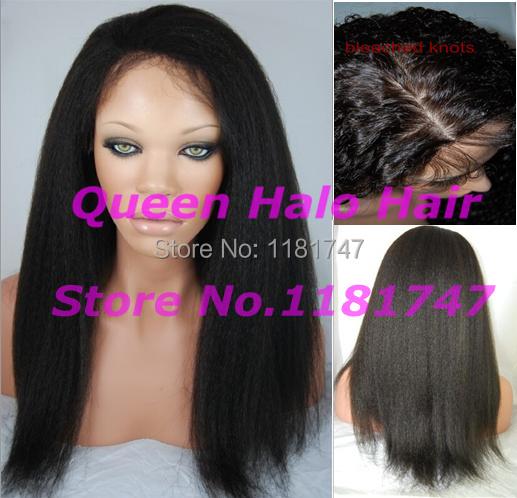 Grade 6A #1b coarse yaki virgin brazilian italian yaki silk top full lace wigs for black women can be made bun free shipping(China (Mainland))