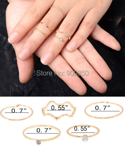 50Sets/lot Punk Rock Gold Stack Plain Band Midi Mid Finger Knuckle Rings Set Women Crystal Thin - Fashion Jewelry-Suoguan Store store