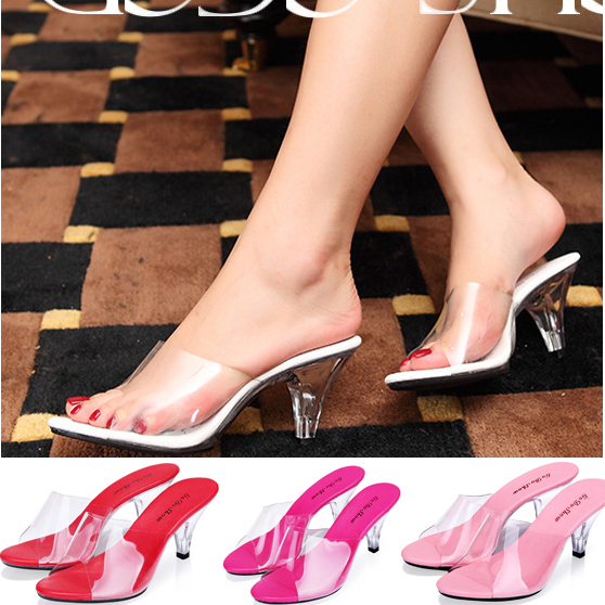 Summer New Fashion Shoes Woman Sandals 7 CM Party Wedding High Heels Transparent Crystal Women Pumps Big Size 34-43 Sexy Sandal<br><br>Aliexpress