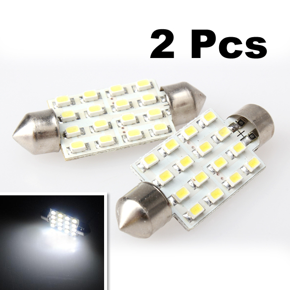Гаджет  BETR 2 x White 42mm 16 LED SMD Festoon Dome Light Car Bulbs Lamp New None Автомобили и Мотоциклы