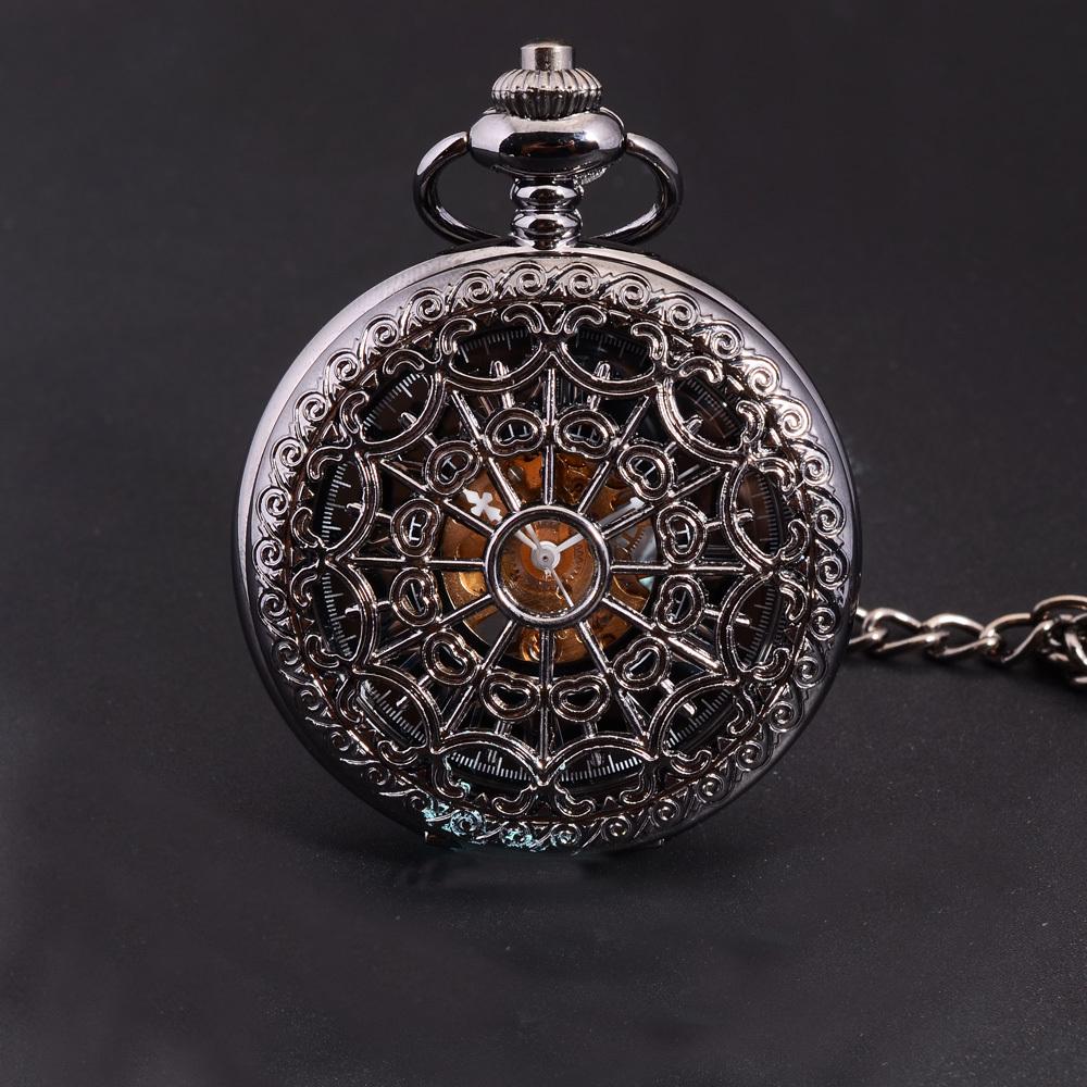New Watch Retro Vintage Unisex Mechanical Hand Wind Pocket Watch Classic Elegant Black Hollow Skeleton Fob Watch Relogio Gift(China (Mainland))