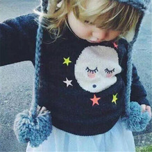 2015 Brand New KIKIKIDS NUNUNU Baby Boy Girl Long Sleeve Moon & Star & Eyelash Hoodies Kids Sweaters Autumn Clothing(China (Mainland))