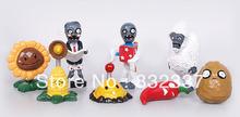 Free Shipping Plants vs Zombies PVC Garden War Collection Action Figures PVZ toys 8pcs /set