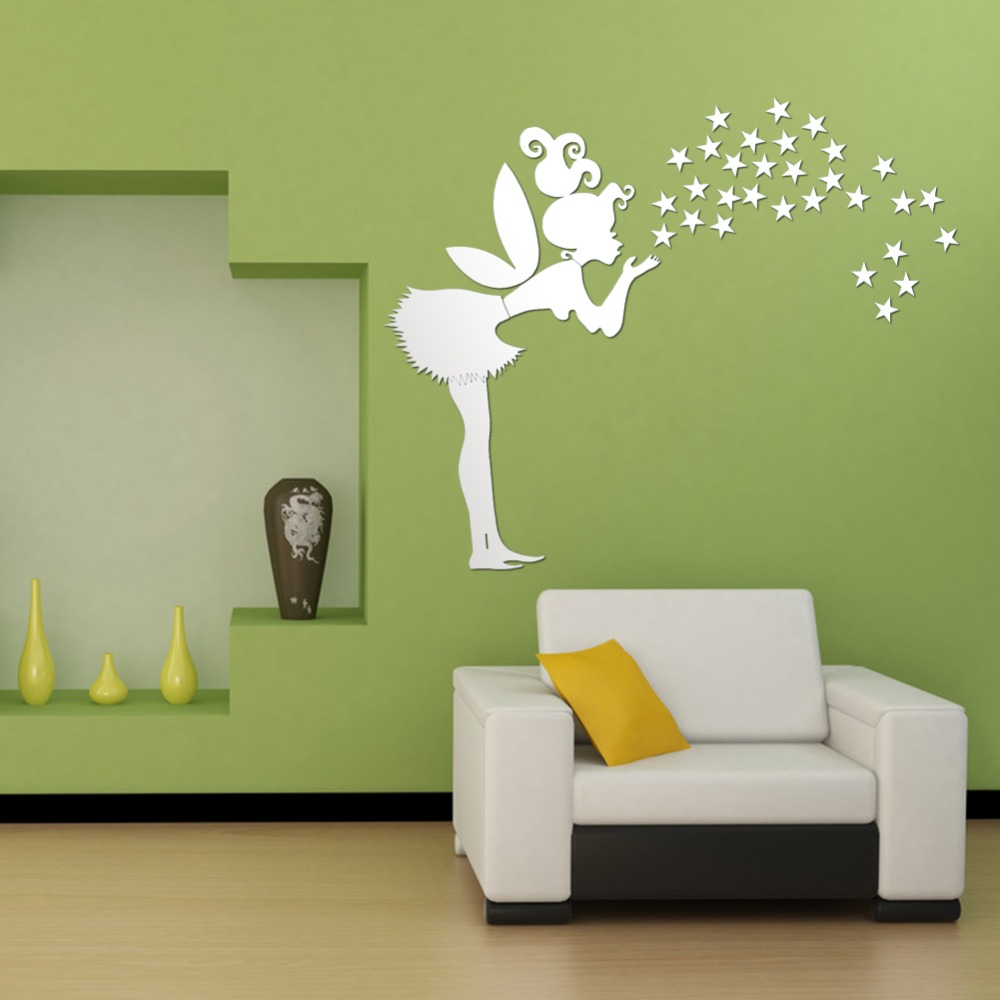 Home decor kids bedroom decoration 3d mirror stickers 35 for Bedroom 3d wall stickers