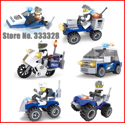 Police Series Motorcycle Security Patrol Police SUV Coast Guard boats Children Educational Assembled Toys Building Blocks(China (Mainland))