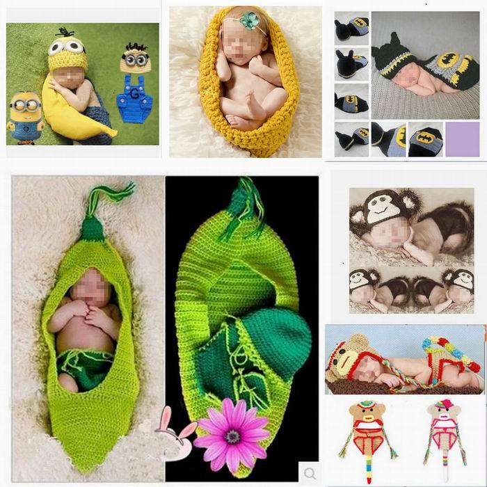 Wholesale Handmade Cotton Knitted Newborn Baby Monkey Bee Owl Beanie Set Costume Infant Crochet Clothes Photograph Prop Outfits(China (Mainland))