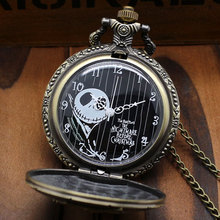 Free Postage Bronze The Nightmare Before Christmas Coffin Quartz Pocket Fob Watch With Chain Necklace(China (Mainland))