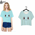 2016 Squirtle Pokemon Costume Punk Harajuku T shirt Women Short Sleeve Crop Top Blusa Summer O