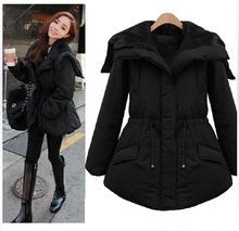 2015 Winter Women'S Medium-Long With A Hood Plus Velvet Thickening Wadded Jacket Drawstring Slim Cotton-Padded Jacket