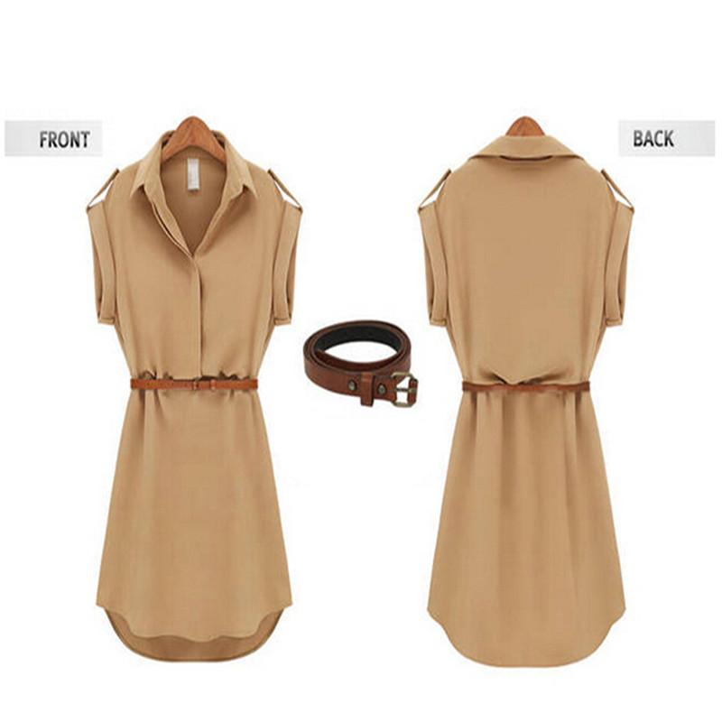 2015 New Fashion 2 Colors Women's Short Sleeve Cap Sleeve Stretch Chiffon Casual OL Shirt Mini Dress 5 Size S M L XL XXL G528(China (Mainland))