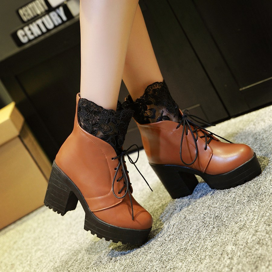 2015 winter Autumn New Knight Ankle boots Women Lace Flower Ankle Boots Cross Straps Breath Fashion Round Toe Size 34-39 R270<br><br>Aliexpress